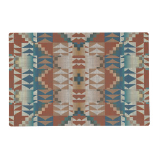 Burnt Orange Brown Teal Blue Eclectic Ethnic Look Placemat