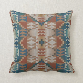 Burnt Orange Brown Teal Blue Eclectic Ethnic Look Throw Pillow