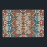 """Burnt Orange Brown Teal Blue Ethnic Look Pattern Placemat<br><div class=""""desc"""">Beautiful contemporary burnt orange, teal blue green and taupe brown kilim mosaic tribal pattern design. Available on original home decor accents for decorating your master or children&#39;s bedroom, kitchen, nursery, living or family room, man or woman cave, college dorm, condo, studio or apartment, mountain lodge home, country cottage, log cabin,...</div>"""