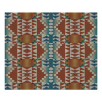 Burnt Orange Brown Teal Blue Ethnic Tribal Mosaic Poster