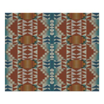 LolasArtAttic Burnt Orange Brown Teal Blue Ethnic Tribal Mosaic Poster
