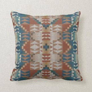 Burnt Orange Brown Teal Blue Tribal Mosaic Pattern Pillow