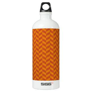 Burnt Orange Chevron Zig Zag Stripes Pattern Aluminum Water Bottle