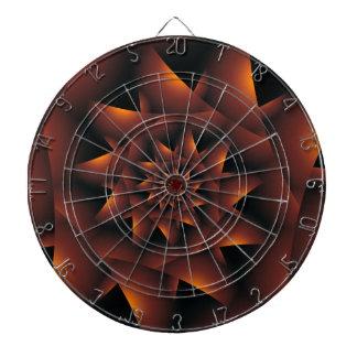 Burnt Orange Dark Spiral Fractal Dart Board