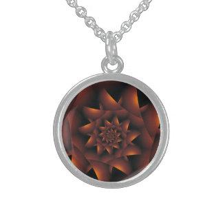 Burnt Orange Dark Spiral Fractal Necklace