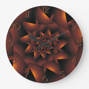 Burnt Orange Dark Spiral Fractal Wall Clock