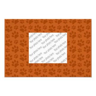 Burnt orange dog paw print pattern photo print
