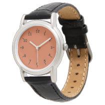 Burnt Orange Face Classic Black Leather Wristwatch