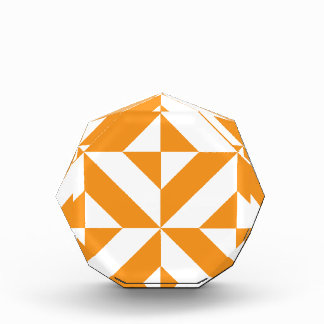 Burnt Orange Geometric Deco Cube Pattern Award