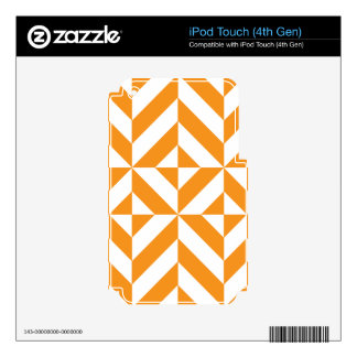 Burnt Orange Geometric Deco Cube Pattern Skins For iPod Touch 4G