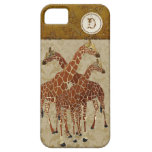 Burnt Orange Giraffes Gold Damask  iPhone Case iPhone 5 Cases