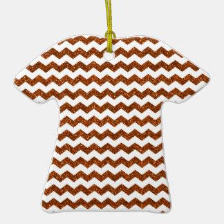 Burnt orange glitter chevrons Double-Sided T-Shirt ceramic christmas ornament