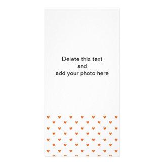 Burnt Orange Glitter Hearts Pattern Card