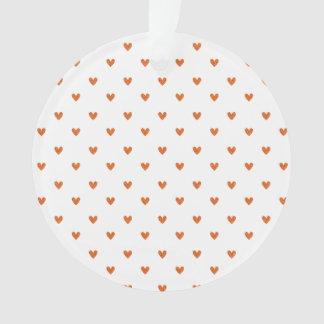 Burnt Orange Glitter Hearts Pattern Ornament