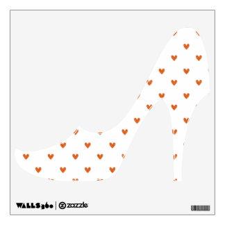 Burnt Orange Glitter Hearts Pattern Wall Decal