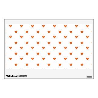 Burnt Orange Glitter Hearts Pattern Wall Sticker