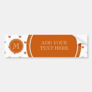 Burnt Orange Glitter Hearts with Monogram Bumper Sticker