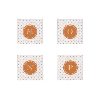 Burnt Orange Glitter Hearts with Monogram Stone Magnet