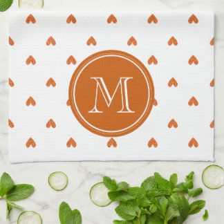Burnt Orange Glitter Hearts with Monogram Kitchen Towels