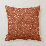 Burnt Orange Glitter Throw Pillow