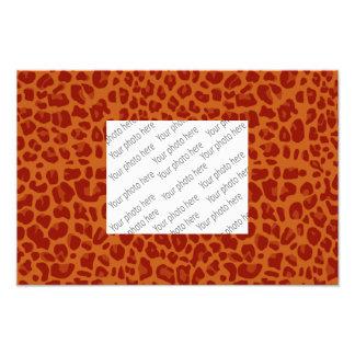 Burnt orange leopard print pattern photo print