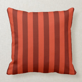 "Burnt Orange-Maroon Broad Stripe 20"" Pillow"
