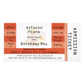 Burnt Orange Movie Night Admission Ticket Invite