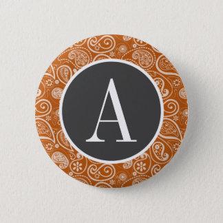 Burnt Orange Paisley; Floral Button