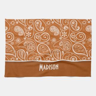 Burnt Orange Paisley; Floral Hand Towels