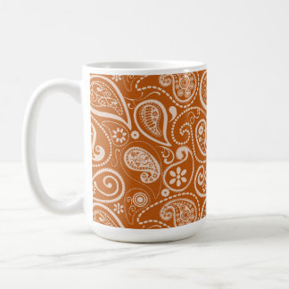 Burnt Orange Paisley; Floral Classic White Coffee Mug