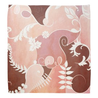 Burnt Orange Peach Artistic Floral Design Bandana