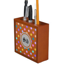 Burnt orange personal desk organizer dots print