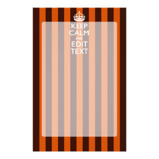 Burnt Orange Personalize This Keep Calm Decor Stationery