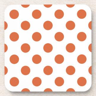 Burnt orange polka dots coaster