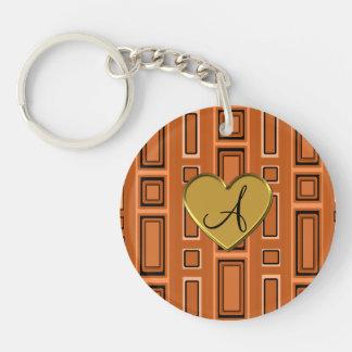 Burnt orange Retro squares monogram Single-Sided Round Acrylic Keychain