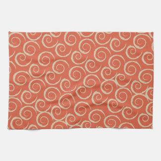 Burnt Orange Retro Swirl Pattern Kitchen Towels