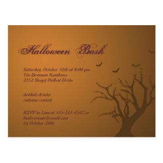 Burnt orange scary tree Halloween party invitation Postcards