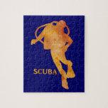 Burnt Orange SCUBA Diver Jigsaw Puzzles