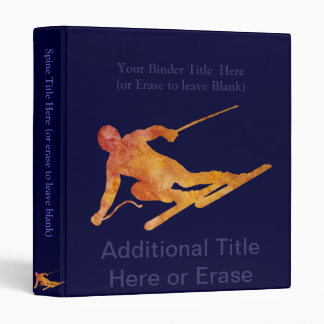 Burnt Orange Skier with Customizable Text 3 Ring Binder