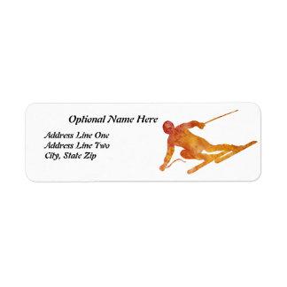 Burnt Orange Skier with Customizable Text Return Address Label