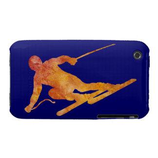 Burnt Orange Slalom Skiier iPhone 3 Cover