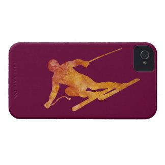 Burnt Orange Slalom Skiier iPhone 4 Case