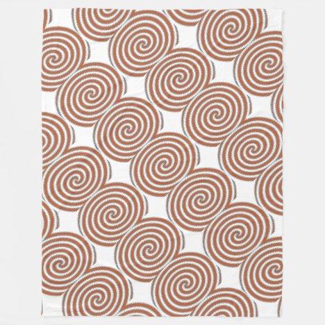 Burnt Orange Spirals Fleece Blanket