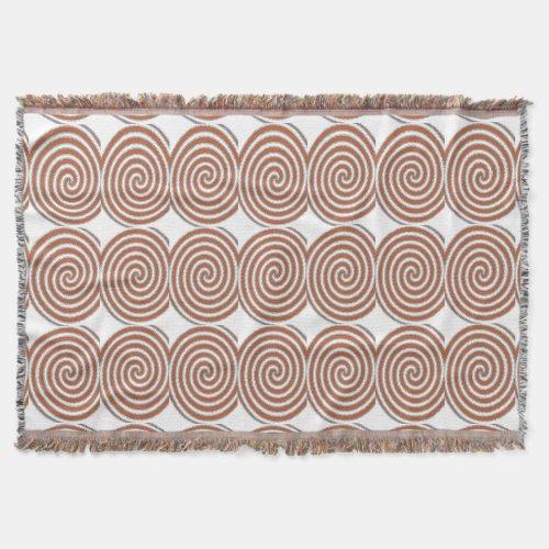 Burnt Orange Spirals Throw Blanket