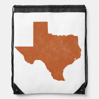 Burnt Orange Texas State Drawstring Bag