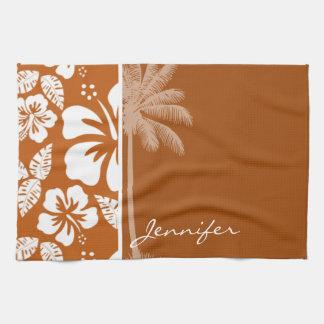Burnt Orange Tropical Hibiscus; Palm Hand Towels