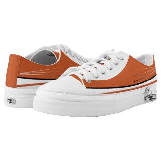 Burnt Orange & White with Black Trim Lo-Top Printed Shoes