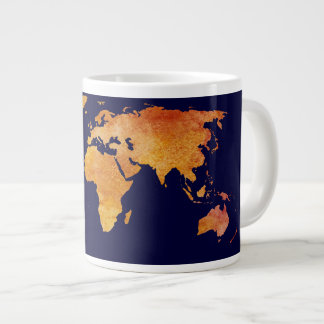 Burnt Orange World Map Large Coffee Mug