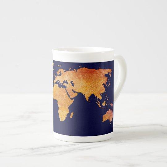 Burnt Orange World Map Tea Cup
