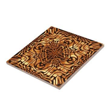 LolasClassyCeramics Burnt Orange Yellow Brown African Mosaic Pattern Tile
